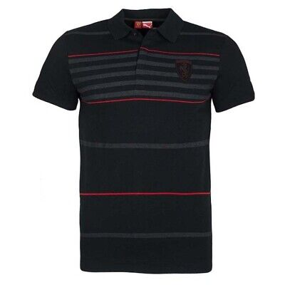 Puma Mens Ferrari Polo Shirt Fan Stripe Casual T-Shirt Top Black 565078 01