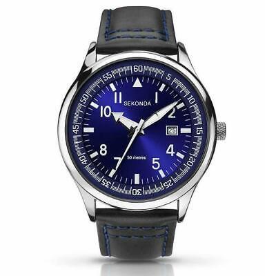 New SEKONDA Midnight Blue Mens Leather Strap Date Watch 1462