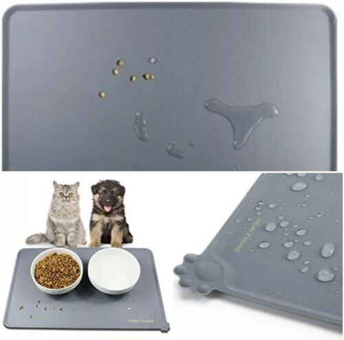 Pet Food Tray~Silicone Non Slip Dog Cat Bowl~Placemat Feeding Mat~18.7