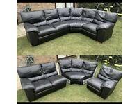 Black leather 3 piece corner sofa can deliver
