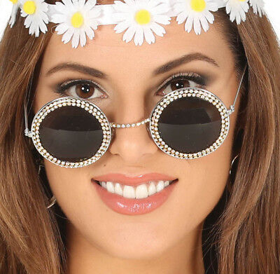 Elton John Glasses Strass Silber Runde Sonnenbrille Hippie 60er Kostüm