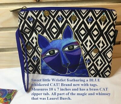 LAUREL BURCH Wild Whiskered Cat Wristlet in Blues perfect for the girl on the go