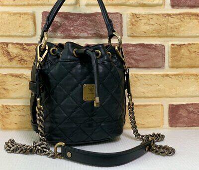 100% Authentic MCM Black Leather Drawstring 2way Hand & Crossbody Bag