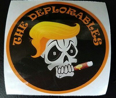 "TRUMP ""The Deplorables"" DECAL Window Car BUMPER STICKER Biker Skull President"