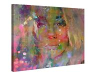 'Thoughtful Girl' Large Wall Art Canvas Picture - 100cm x 75cm - Brand New (Will Also Post for £8)