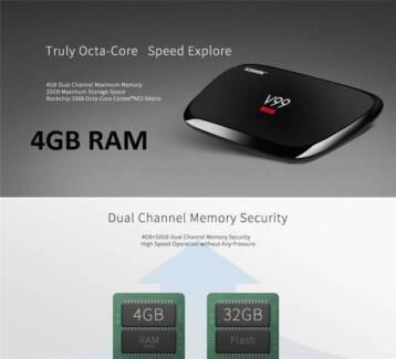 4GB RAM/32GB Smart TV Box Android V99 Hero Octa-core 4K kodi Wifi