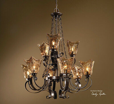 Tuscan Oil Rubbed Bronze Amber Glass Vetraio 9 Light 2 Tier Chandelier Fixture  2 Tier Chandelier Light Fixture