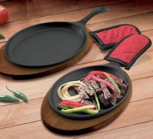 Fajita Skillet Pan Cast Iron Set 6 Piece Oven Safe Seasoned Plate Steak Sizzling
