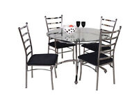 Dining set - Glass table and 4 chrome chairs