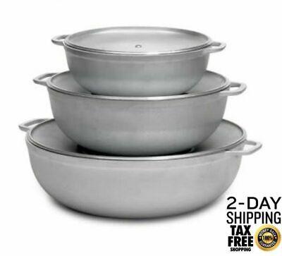 Cast Aluminum Pot Big Cooking with Lids Set Large Non-Stick Round 3 pcs Cauldron Aluminum Large Pot