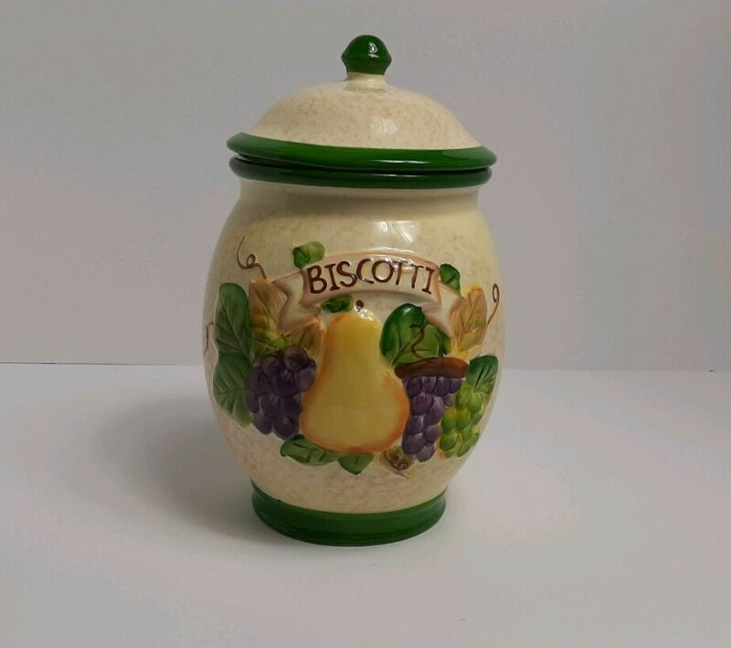 Biscotti Cookie Jar Canister Handpainted for Nonnis Beautiful Fruit design
