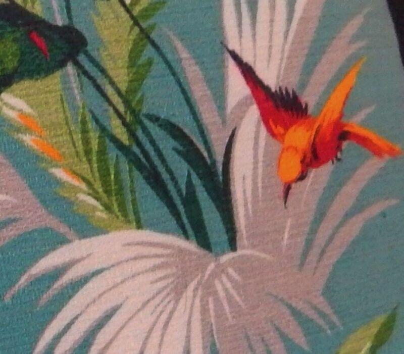 Tropical Caribbean Paradise Barkcloth Pillow Cover RARE Authentic 40