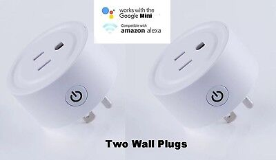 2 PACK - Mini Wifi Smart Plug Remote Control Timer Switch Power Socket US outlet