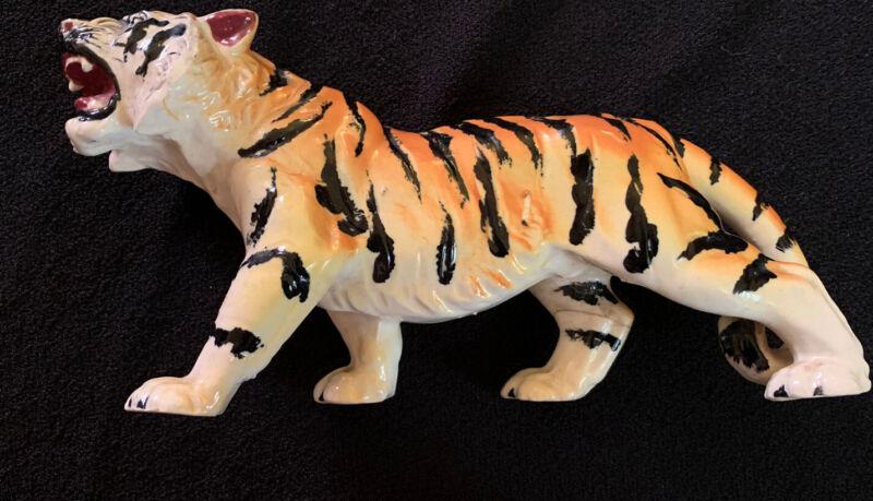 Vintage Stalking/Snarling Bengal Tiger Ceramic Figure Made in Japan