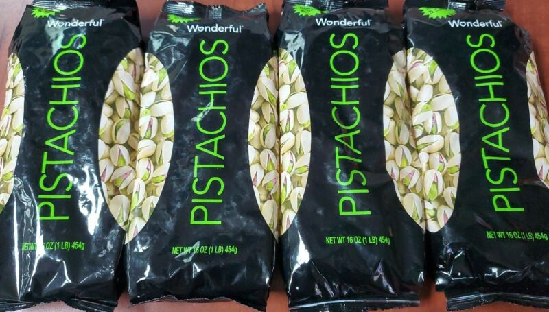 (SEE DETAILS) 4x Bags Wonderful Pistachios Roasted & Salted 16oz (64oz)