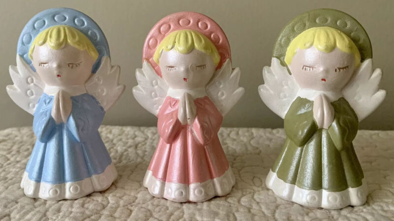 Vintage Christmas Lot Of 3 Angels Pink Blue Green Ceramic Hobbyists 3 Inch
