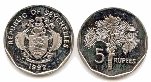 TEN (10) Seychelles  5 Rupees Coins 1992,Uncirculated KM 51.2, Fruit Tree