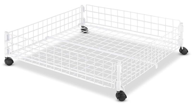 Whitmor Storage Organization Rolling White Wire Underbed Cart Home Kitchen