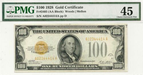 1928 $100 GOLD CERTIFICATE ~ FRESH & PROBLEM-FREE PMG CHOICE EXTRA FINE 45 NOTE