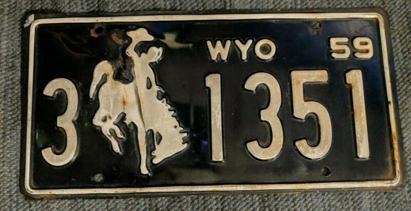 Original 1959 Wyoming License Plate