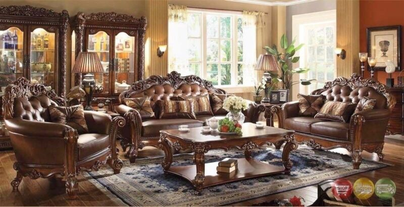 Vendome Traditional Brown 4pc Formal Living Room Set Sofa Loveseat Chair & Table