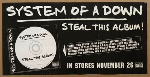 SYSTEM OF A DOWN Rare 2002 PROMO POSTER RELEASE DATE of Steal CD NEVER DISPLAYED