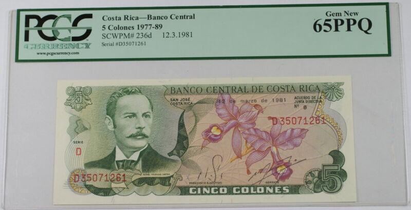 1977-89 Costa Rica Banco Central 5 Colones Note SCWPM# 236d PCGS PPQ 65 Gem New