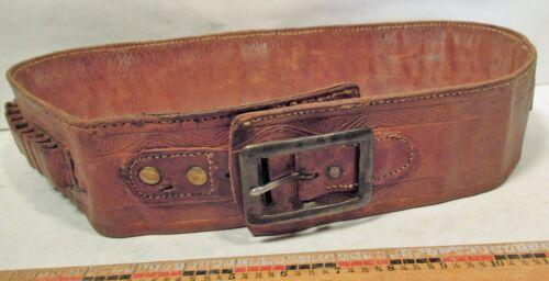 "Antique Leather Money Belt & Cartridge belt - 39"""