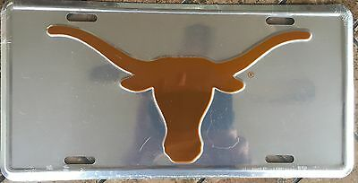 TEXAS LONGHORNS CAR TRUCK TAG CHROME LICENSE PLATE METAL SIGN UNIVERSITY OF Texas Longhorns Metal License Plate