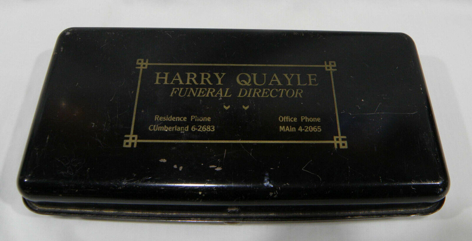 Vintage Harry Quayle Funeral Director Metal Documents Box Funeral Home Brooklyn  - $22.98