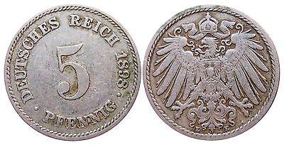 J 12   5 Pfennig KAISERREICH 1898 E in SS  502901