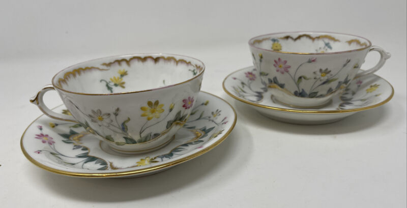 2 Fisher Mieg Austria Ornate Hand Painted Teacup & Saucers Gold Raised Enamel