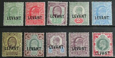 British Levant – 1905 - KE7 – Set to 1/- (L1- L10) - Mint – Cat. £110 (R5-E)