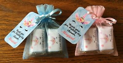 Unicorn 6 shower, Hershey mini bars party favors with organza bags personalize ()