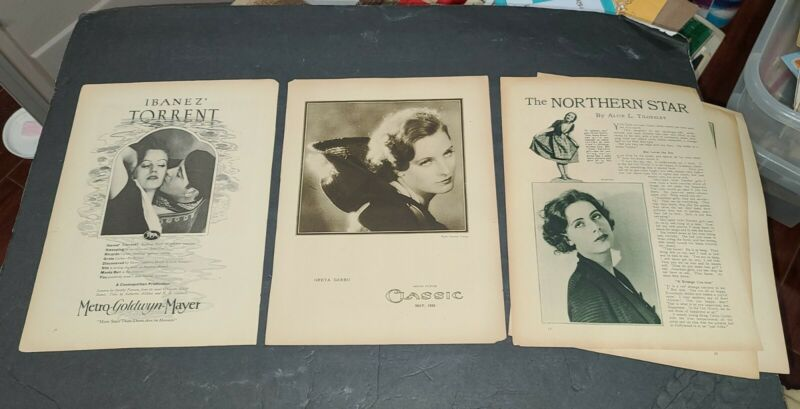 GRETA GARBO 1926 3 ITEMS TORRENT AD, ARTICLE &  PHOTO BY RUTH HARRIET LOUISE.