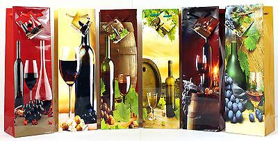 Geschenktüten 24 Stück Flaschentüten Weintüten Sektflaschen Weinmotive 754