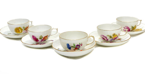 5 KPM Berlin Germany Hand Painted Porcelain Cup and Saucers, Floral Designs