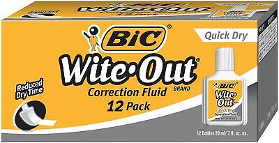 BIC Wite-Out Quick Dry Correction Fluid 12/Pk (WOFQD12Q) 419036