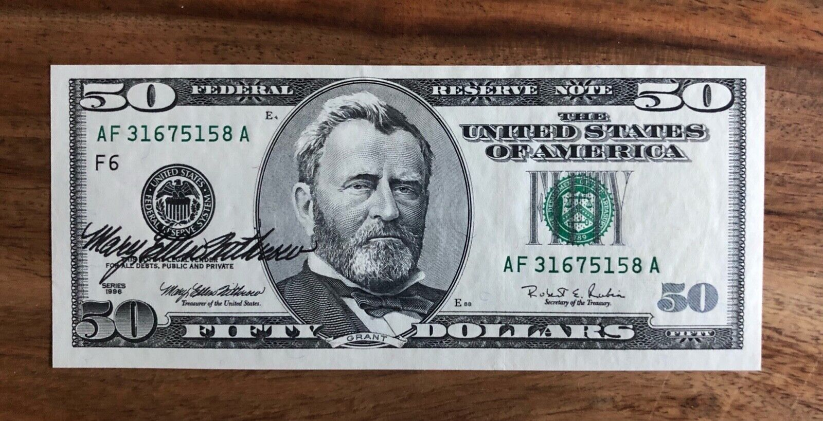 50 1996 Federal Reserve Note - Courtesy Autographed By Mary Ellen Withrow  - $70.00