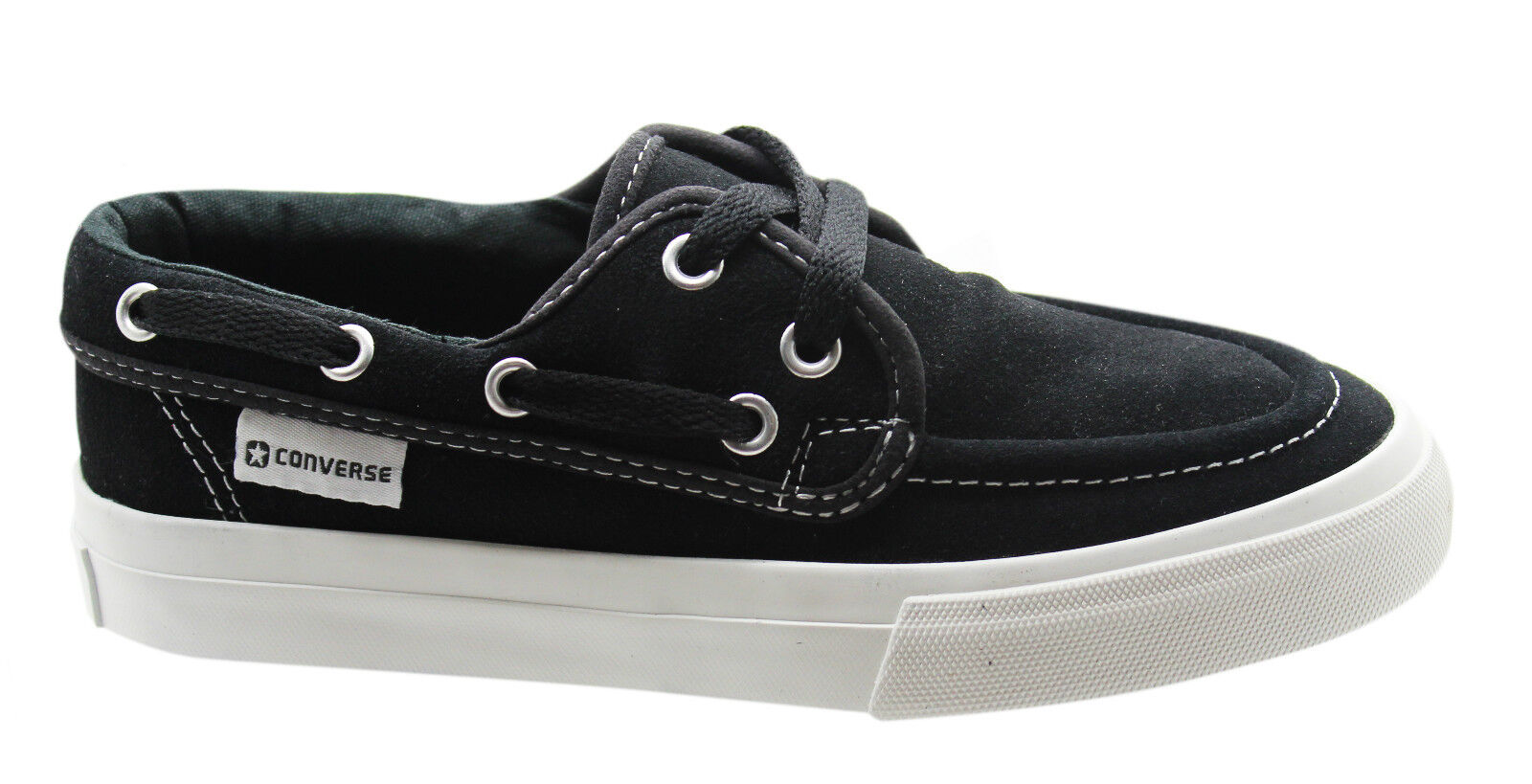 4d85e24ec421 Converse Sea Star OX Mens Boat Shoe Trainers Black Suede Lace Up ...