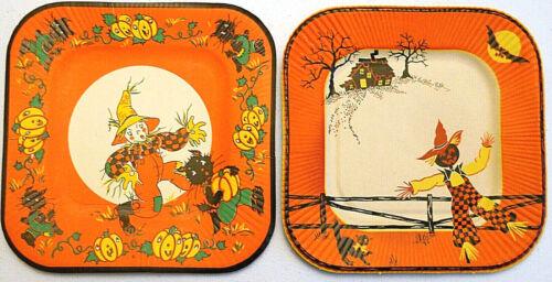 2 Vintage 1940s/50s Halloween Paper Luncheon Plates Dennison/Perkins Scarecrows