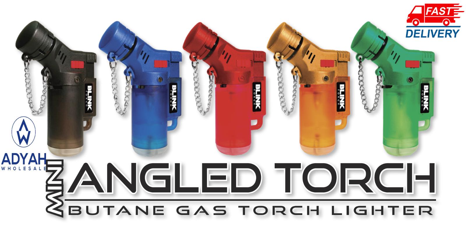 2 Pack 45 Degree Angle Jet Flame Blink Butane Torch Lighter