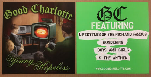 GOOD CHARLOTTE Rare 2002 Set of 2 DOUBLE SIDED PROMO POSTER FLAT for Young CD