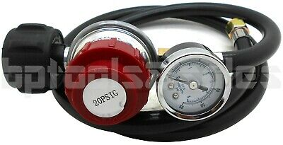 - 4 FT BBQ HOSE & HIGH PRESSURE 20 PSI ADJUSTABLE LP PROPANE REGULATOR GAUGE QCC1