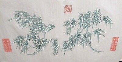 JAPANESE BAMBOO BLOSSOMS ORIGINAL WATERCOLOR ON PAPER RUBBING PAINTING