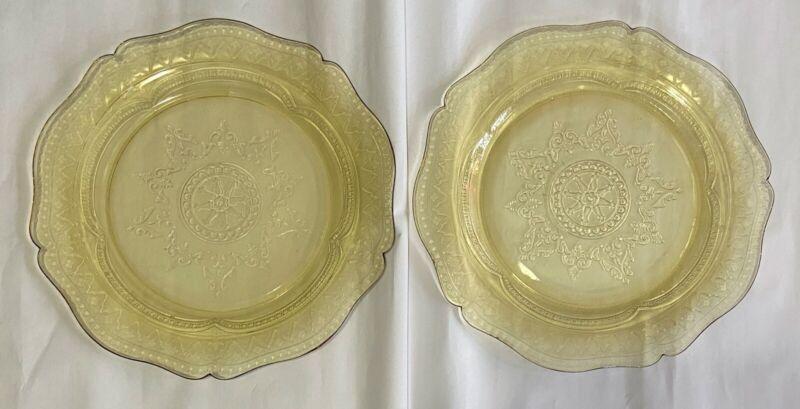"set of 2 yellow Depression Glass Patrician Spoke plates 11"" scalloped edges"