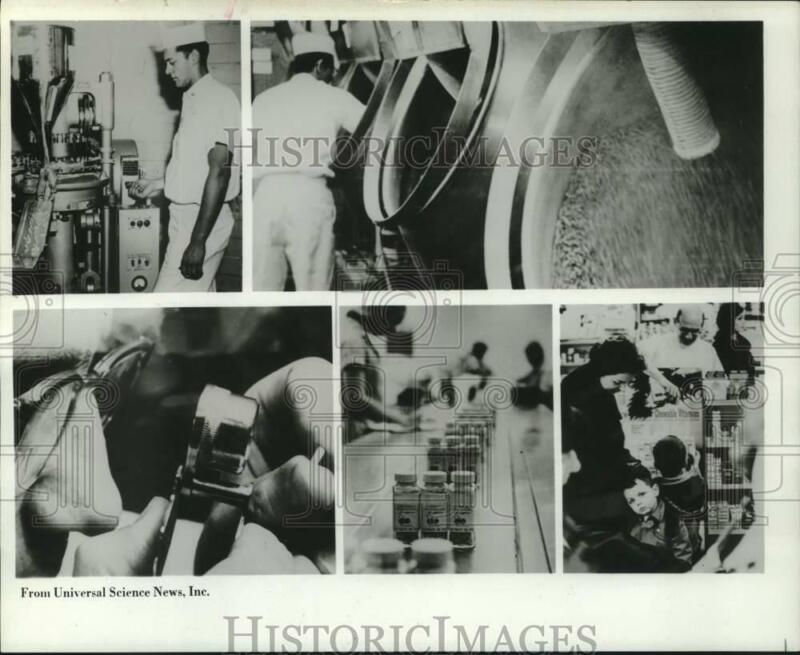 1972 Press Photo Collage Showing Process of Making Vitamin Tablets - hcx25724