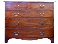Wonderful Antique Mahogany Chest of Five Drawers, Can Deliver