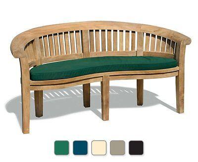 DELUXE Teak Banana Bench & Cushion -Park Garden Patio Outdoor Curved Wooden Seat
