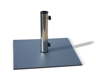 Grey Patio Garden Outdoor Parasol Base, Square, Stainless Steel - 13kg